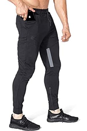 BROKIG Herren Oberschenkel Mesh Gym Jogger Hose Herren Casual Slim Fit Workout Bodybuilding Sweatpants mit Reißverschlusstaschen - - Mittel