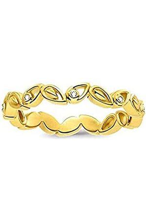 Thomas Sabo THOMAS SABO Damen-Ring Blätter Silber vergoldet Diamant (0.2 ct) weiß Gr. 54 (17.2) - D_TR0024-924-39-54