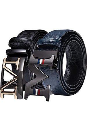 Barry.Wang Herren-Gürtel, Geschenk-Set, 2 Stück, Ratschen-Schnalle, verstellbar, echtes Leder, Designer für Business-Kleidung, Taillengürtel