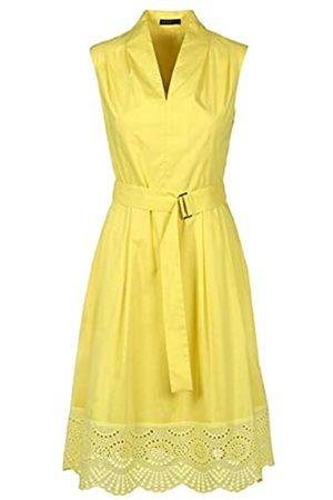 Apart APART, ärmelloses Damen Kleid, aus leicht raschelnder Baumwolle im Farbton Gelb, mit breitem Saum aus Loch-Spitze