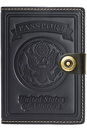 Villini Villini - Leather RFID Blocking US Passport Holder Cover ID Card Wallet - Travel Case (Black Vintage)