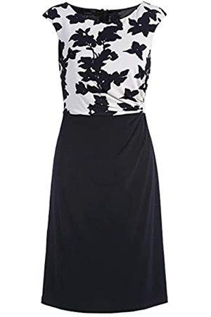 Apart APART, Elegantes Damen Kleid, crème-Nachtblau, aus Einer Soften Viskose-Ware, mit chicer Raffung an der Seite Links