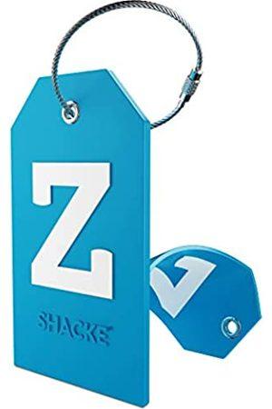 Shacke Gepäckanhänger Initial mit Sichtschutz und Edelstahlschlaufe (Aquamarinblau) (Z)