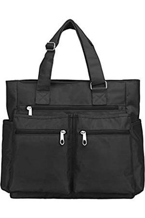 VOLGANIK ROCK Canvas Tote Bag Wasserdichte Nylon Multi Pocket Schultertaschen Laptop Arbeitstasche Lehrer Geldbörse und Handtaschen für Damen & Herren (schwarz)