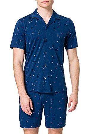 Schiesser Herren kurzer Schlafanzug mit Knöpfen zum Öffnen