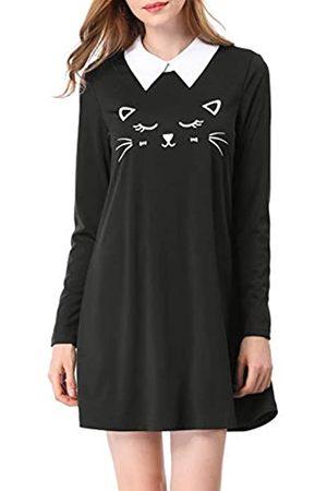 Allegra K Damen Freizeitkleider - Damen Langarm Umlegekragen Colorblock Katze Muster Minikleid Kleid XS