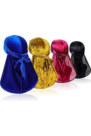 ASHILISIA 4 Stück Wave Durags (2 Stück Velvet Durags und 2 Stück Soft Durags) - Premium Headwraps mit extra langem Schwanz für 360 Wellen - - Einheitsgröße