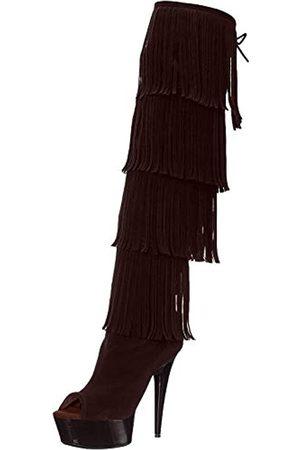 The Highest Heel Unisex-Erwachsene Amber 305 Thigh High Open Toe Microsuede Fringe Boot Overknee-Stiefel