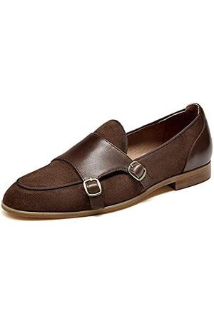 Beautoday BEAU TODAY Damen Wildleder Loafer Elegant Mönch Slip Ons Schuh, Braun (coffee)
