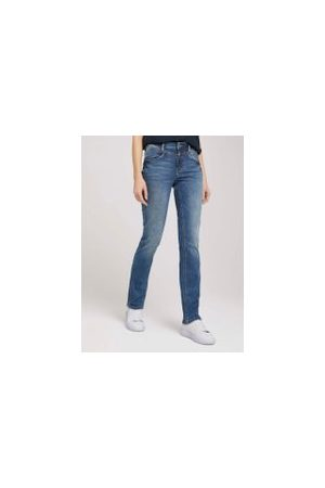 TOM TAILOR Damen Straight - Alexa Straight Jeans mit Stretch, Damen, mid stone wash denim, Größe: 32/32