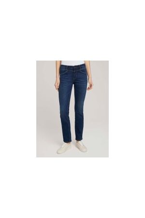TOM TAILOR Alexa Straight Jeans mit Stretch, Damen, dark stone wash denim, Größe: 32/32