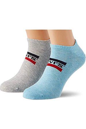 Levi's Unisex-Adult Sportswear Logo Low Cut (2 Pack) Socks, Blue/Grey Melange