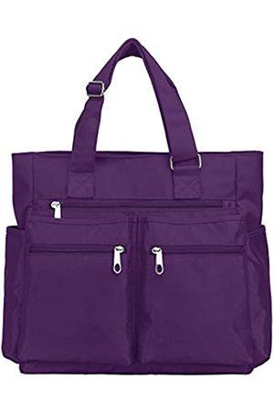 VOLGANIK ROCK Canvas Tote Bag Wasserdichte Nylon Multi Pocket Schultertaschen Laptop Arbeitstasche Lehrer Geldbörse und Handtaschen für Damen & Herren, (Lila neu)
