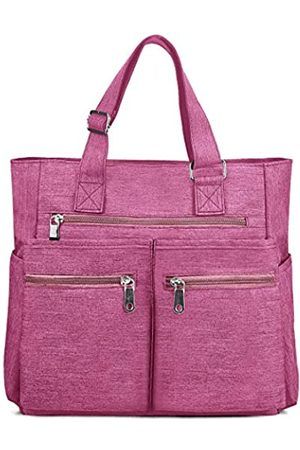 VOLGANIK ROCK Canvas Tote Bag Wasserdichte Nylon Multi Pocket Schultertaschen Laptop Arbeitstasche Lehrer Geldbörse und Handtaschen für Damen & Herren, Pink (Pink 2)