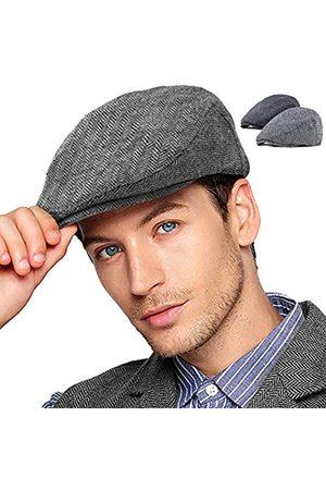LADYBRO Herren Caps - 2er-Pack Newsboy Hüte für Herren S/M/L/XL flache Kappe Herren Irish Cabbie Gatsby Tweed Ivy - - 56/59 cm