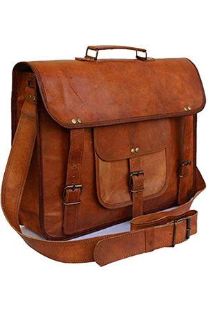 PRASTARA 15 Inch Vintage Men's Leather Handmade Briefcase Best Laptop Messenger Bag Satchel shoulder bag