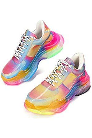Cape Robbin Präsentiert MDT Cyber Sneaker für Frauen, Keil-modische Sneaker für Frauen mit klobigen Blockabsatz, (regenbogenfarben)