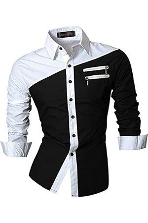 Sportrendy Herren Freizeit Hemden Slim Button Down Long Sleeves Dress Shirts Tops JZS052 Black XL