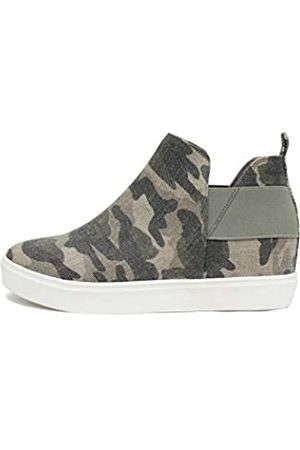 Soda Diana – Schlupfschuh, versteckter Keilabsatz, modischer Sneaker mit elastischen Gore-Einsätzen, Grün (camouflage)
