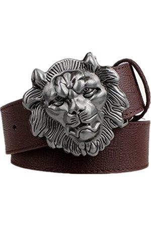 Moolecole Herren Gürtel mit Löwenkopfschnalle, modisch