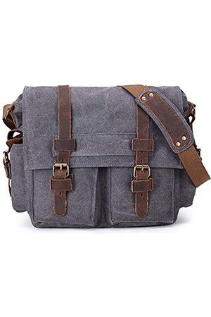 Sechunk Vintage Military Leather Canvas Laptop Bag Messenger Bags Medium (Large-17'')