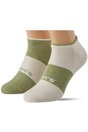 Levi's Unisex-Adult Sustainable Low Cut (2 Pack) Socks, Green/White
