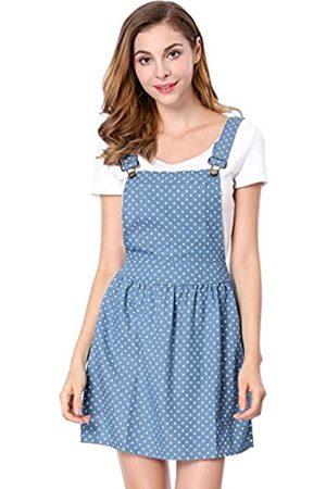 Allegra K Damen A Linie Elastisch Strap Polka Dots Jeans Latzkleid Kleid XS