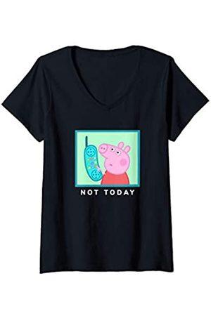 Hasbro Damen Peppa Pig Not Today T-Shirt mit V-Ausschnitt