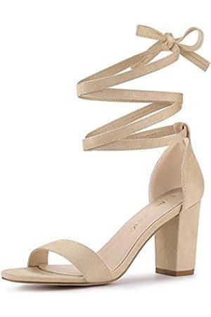 Allegra K Damen-Sandalen zum Schnüren und Knöchelriemchen mit klobigem Absatz