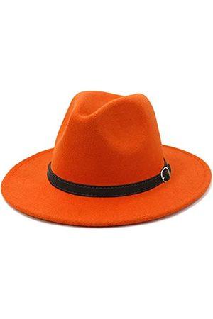 Lisianthus Lisianthus Herren & Frauen Fedora Hut – Gürtelschnalle breite Krempe Panama Hut - Orange - Large