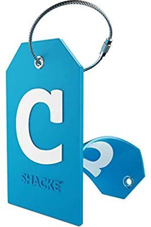 Shacke Initial Gepäckanhänger mit Sichtschutz und Edelstahlschlaufe (Aquamarinblau) (C)