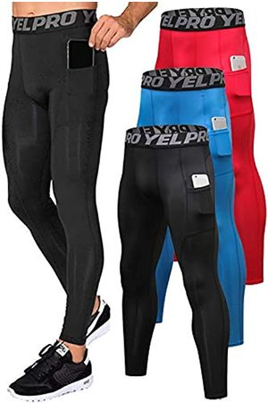 Yuerlian Yuerlian Herren Kompressionshose Workout Leggings Training Running Tights Athletic Base Layer Cool Dry Pants mit Tasche, Herren, Taschen-Schwarz + Rot + Blau.
