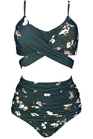 COCOSHIP Green Gables & Brown White Floral Vintage Ruched High Waist Bikini Set Criss Cross Push Up Swimsuit Bath Suit 6