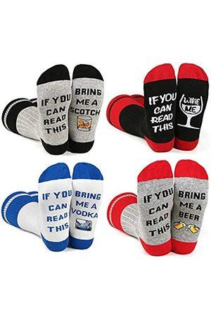 BISOUSOX Lustige Socken IF YOU CAN READ THIS Bunte Socken Modische Herrensocken Strümpfe für Herren Damen Geschenk für Frauen Freundin (39-46)