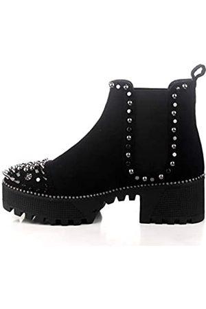 Cape Robbin Spiky Combat Stiefeletten für Damen, Plateau Boots mit Chunky Blockabsatz Nieten Chelsea Boots für Damen