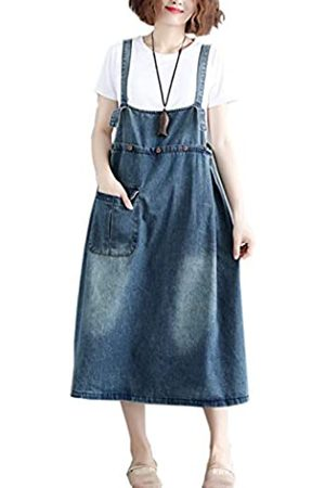 Flygo Damen Midi Länge Lang Denim Jeans Pullover Overall Latzhose Kleid Rock - - 34-38