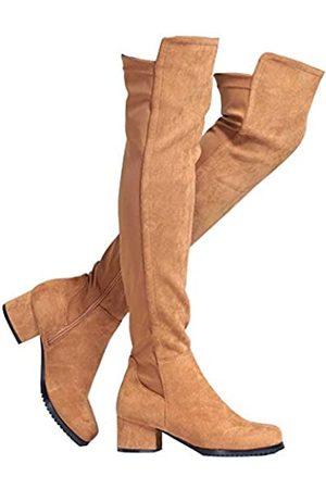 Shoe'N Tale Shoe'N Tale Damen Overknee-Stiefel aus Velourslederimitat mit klobigem Absatz, Stretch, Overknee-hoch, (C-braun, 5,1 cm Absatz)
