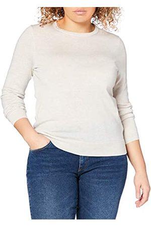MERAKI Damen Strickpullover - Amazon-Marke: Merino Pullover Damen mit Rundhals, Beige (Oatmeal), 42