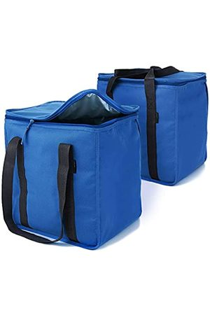 urbanhouse Urban House (2-Pack) Blue Premium Grade Insulated Grocery Shopping Cooler Bag with Heavy Wall Insulation and Zipper Top Lid Keeps Food Cold or Hot