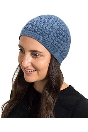 SnugZero SnugZero - Over-The-Ear-Beanie Kufis mit Zickzack-Strick aus 100% Baumwolle | Ideal für den Alltag und Chemo-Kopfbedeckung Damen und Herren - Blau - Einheitsgröße