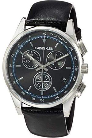 Calvin Klein Herren Analog Quarz Uhr mit Echtes Leder Armband KAM271C1