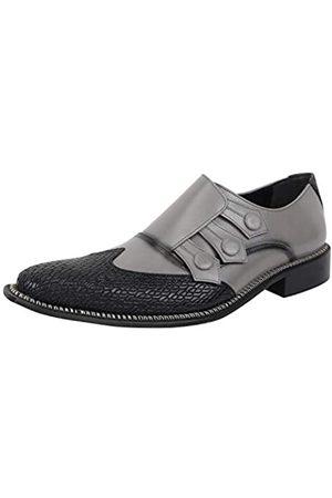 Liberty Footwear Libertyzeno Herren-Schlupfschuhe mit drei Mönchriemen, echtes Leder, formelle Business-Schuhe, Grau (schwarz / grau)