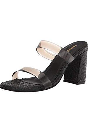KAANAS Women's Florence Snake-Embossed Heels with Vynil Straps Heeled Sandal, Black