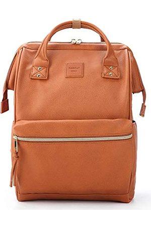 Kah&Kee Kah&Kee Leder Rucksack Wickeltasche mit Laptopfach Travel School für Damen (Kamel