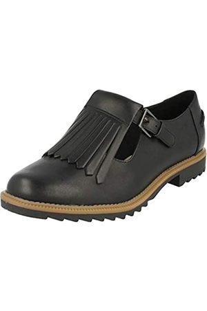 Clarks Damen Griffin Mia Penny Loafer Slipper, (Black Leather)