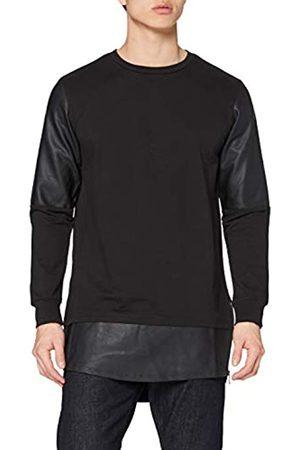 Urban classics Urban Classics Herren Long Zipped Leather Imitation Crewneck Sweatshirt