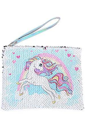 starte Starte Einhorn/Regenbogen Frauen Pailletten Umschlag Handtasche Party Clutch Make-up Tasche wendbar Glitzer Pailletten Kosmetiktasche