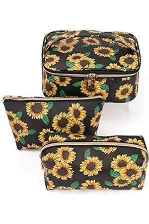 Hibala Hibala Makeup Bag Portable Travel Cosmetic Bag Waterproof Organizer Multifunction Case with Zipper Toiletry Bags Handbags for Women (Sunflower 3P)