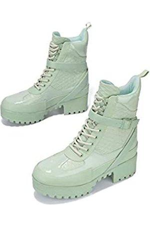 Cape Robbin Hot Rod Combat Boots für Damen, Plateau-Stiefel mit klobigen Blockabsätzen, hohe Stiefel, Grün (graugrün)