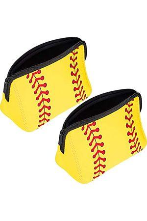 Boao 2 Stück Baseball-Druck Make-up-Tasche Softball Reise Kosmetiktasche Tasche Wasserdichte Neopren Tasche mit Reißverschluss für Frauen, Mädchen, Reisen